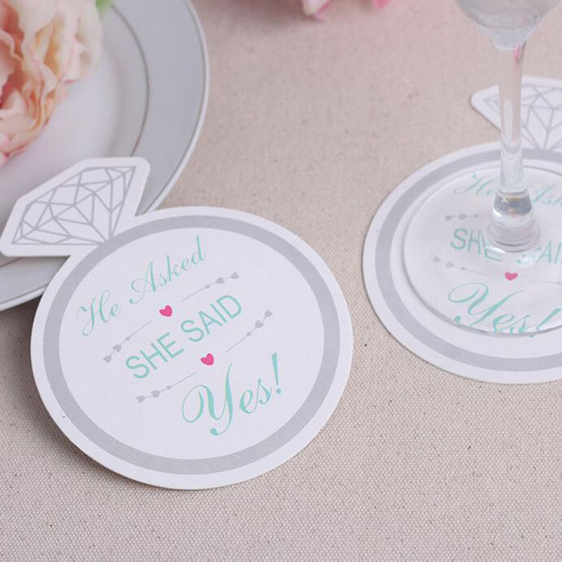 600pcs=50bags/Lot Fashionable Style Diamond Ring Design 9.8cm Paper Coasters (Set of 12) Bridal Shower Favors ZA5523