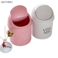 Home Mini Storage Box Waste Container Plastic Desktop Cleaning Barrel Creative Small Desk Storage Holder Organizer