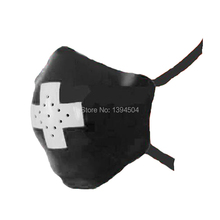 new hot fashion cekc exotic white cross black little hole latex unisex nurse&doctor hood fetish mask masks plus size