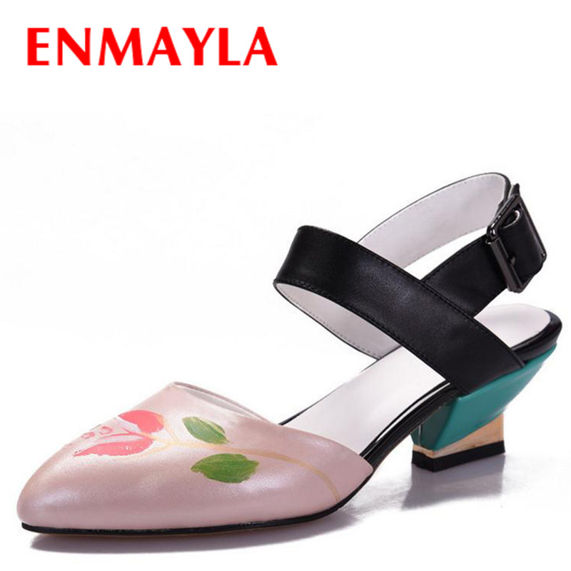 ФОТО ENMAYLA Sexy High Heels Lady Sandals Women Print Flower Pointed Toe Pumps Women's Sandals Dress Wedding Shoes Woman Pumps