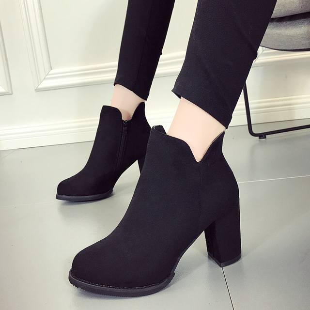 2017 New Plain Ankle Office Ladies Boots Spring Autumn Formal Dress