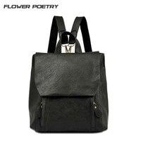 Vintage Retro PU Leather Women Backpacks Casual Travel Shoulders Package Female School Bag Ladies BackPacks For