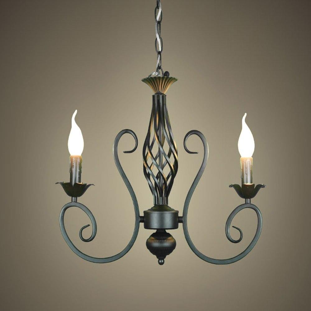 Us 49 99 aliexpress com buy free shippingrustic wrought iron chandelier e142pcs led light black candelabra vintage antique art deco sconce