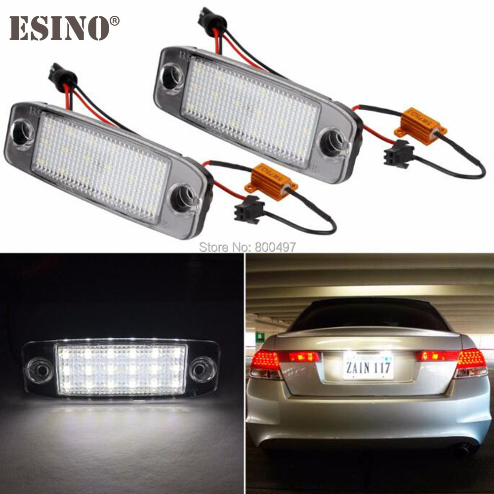 2 x Car LED Number License Plate Lamps CANBUS OBC Error Free 18 SMD LED For Hyundai Terracan Tucson Accent Vision Veracruz IX55 direct fit for kia sportage 11 15 led number license plate light lamps 18 smd high quality canbus no error car lights lamp page 7