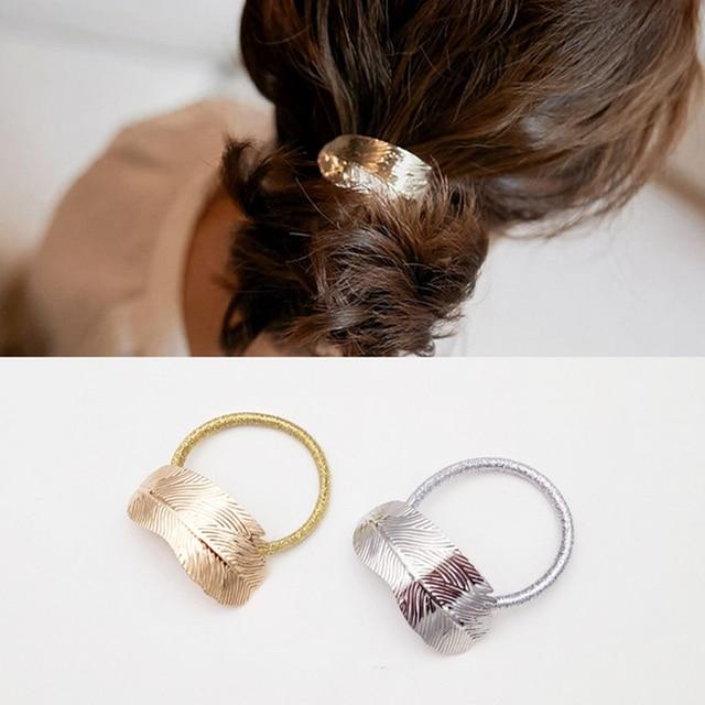 Hot Women Lady Leaf Elastic Hair Band Metal Headband Elastic Hair Ties Rope Ponytail Holder Party Vacation Hairband
