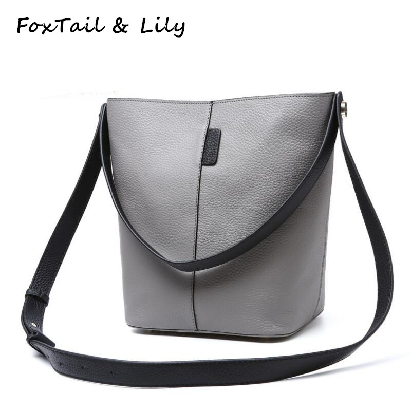 ФОТО FoxTail & Lily Famous Designer Genuine Leather Composite Bag Women Shoulder Messenger Bag High Quality Leather Crossbody Bags