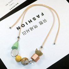 Colored Necklace Sweater-Chain Clavicle-Chain-Length Wood Wholesale YDGY Literature Art