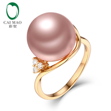 Caimao Jewelry 12-13mm Round Freshwater Pearl 0.08ct Natural Diamonds 14k Yellow Gold Engagement Ring Free Shipping
