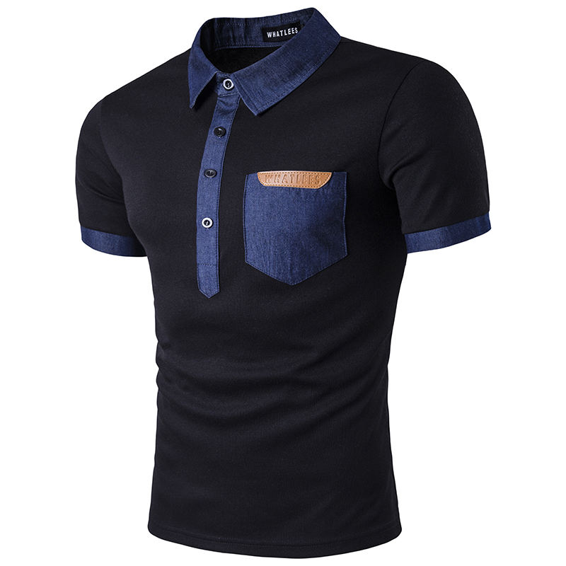 2017 Summer New MenS Urban Fashion Casual Style Personality Jeans Mosaic Pocket Leather Logo Lapel Short Sleeved Polo Shirt