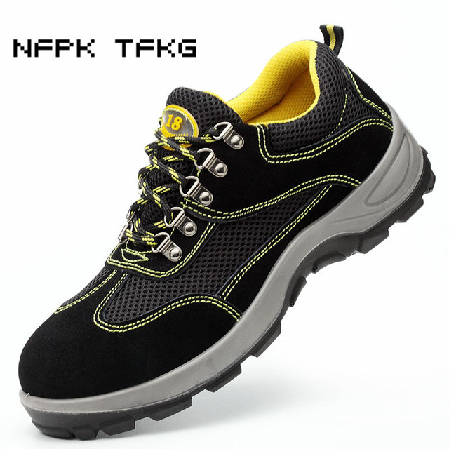 large size men's fashion breathable steel toe caps working safety shoes building site worker dress security boots anti-puncture