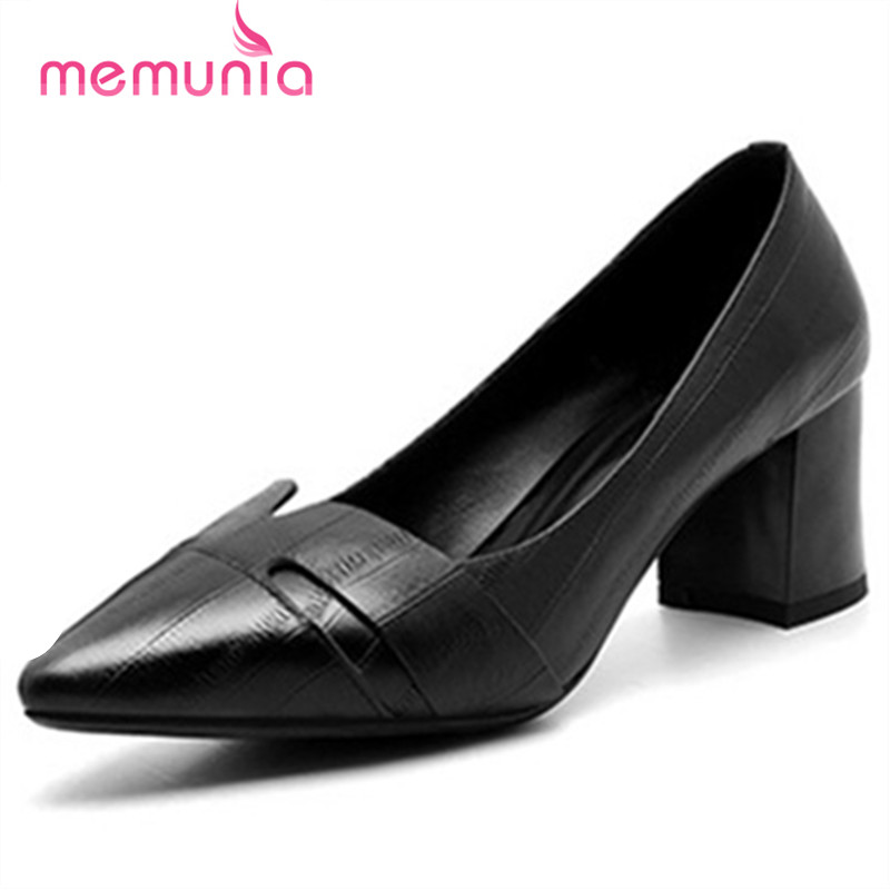 MEMUNIA 2017 Women pumps simple pointed toe shallow high heels genuine leather single shoes ladies office lady work memunia flock pointed toe ladies summer high heels shoes fashion buckle color mixing women pumps elegant lady prom shoes
