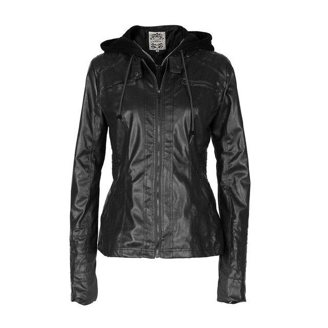 1ae1125197d35 Women Casual Coat 2017 Autumn Winter PU Leather Jackets Slim Hooded Zipper  Windbreak Warm Coats Bomber