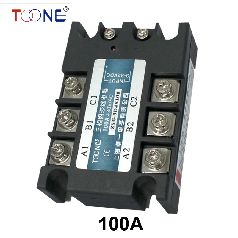 good quality DC to AC SSR-3P-100 DA 100A SSR relay input DC 3-32V output AC480V Three phase solid state relay  цены