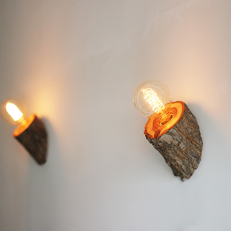 Natural Wood Wall Lamp Led Bathroom Wall Light Vintage Decorative Wall Lighting Decorative Wall Sconce Wood Decoration Lighting