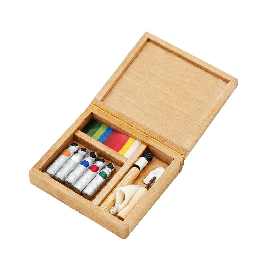 Odoria 1:12 Miniature Pigment Box Paintbox Painting Dollhouse Furniture Accessories