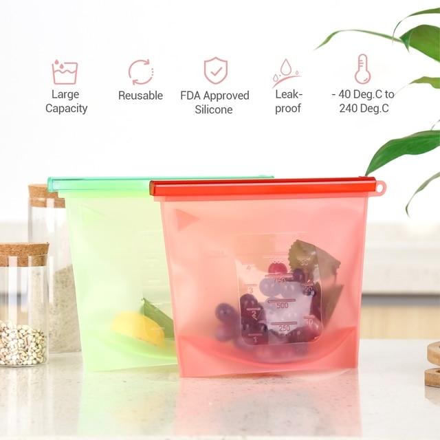 4PCS 1000ml Kitchen Food Sealing Storage Bag Reusable Refrigerator Fresh Bags Silicone Fruit Meat Ziplock Kitchen Organizer 3