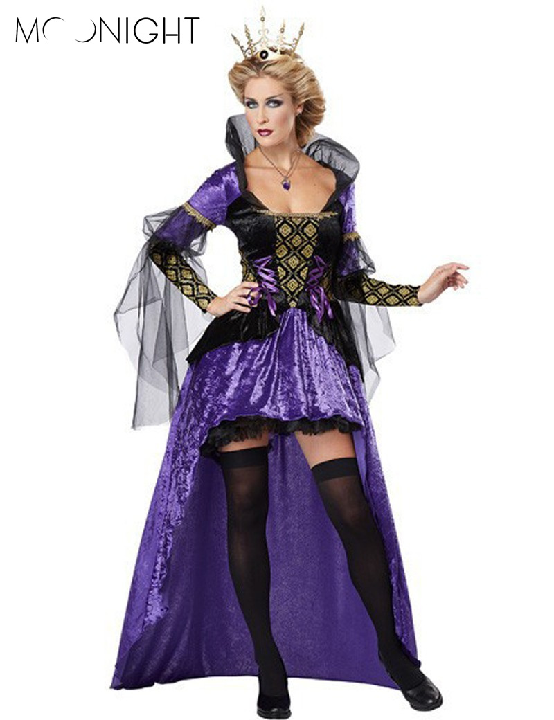 MOONIGHT Deluxe Womens Royal Queen of Hearts Elite Costume Queen Halloween Hen Party Long Dress Fairy Tale Costume