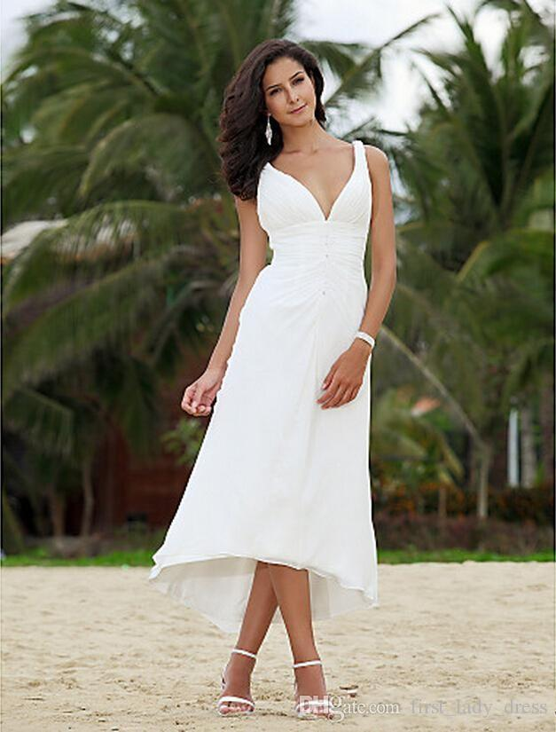 Online Chiffon Wedding Dresses Under 100 A Line Mid Calf