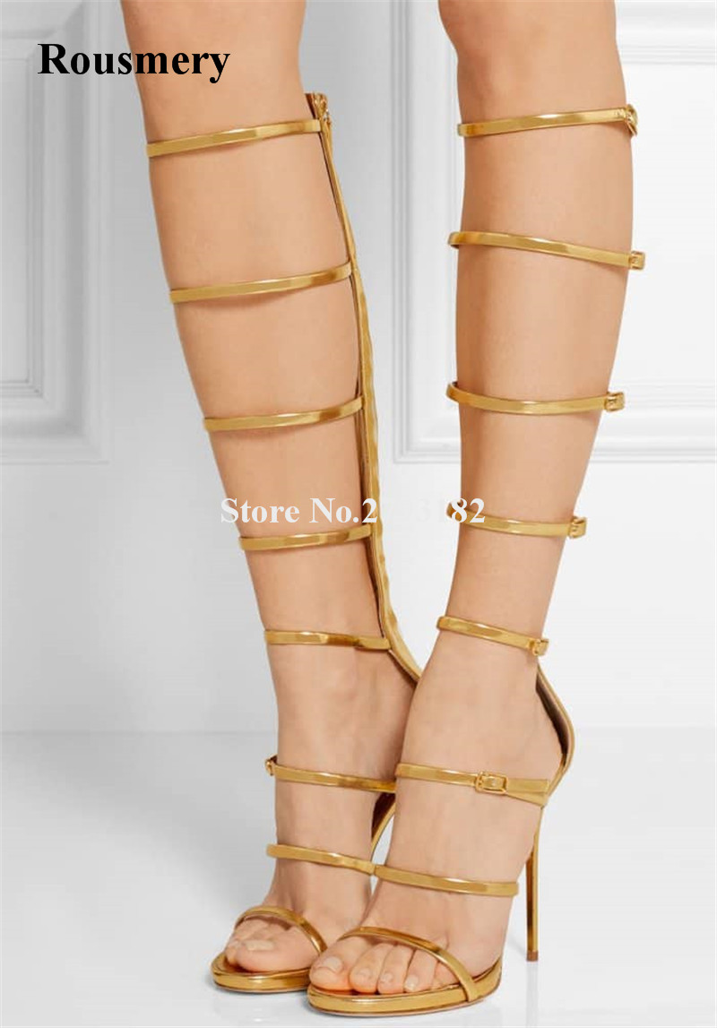Summer New Fashion Women Gold Silver Leather Straps Gladiator Sandals Cut-out High Heel Long Sandals Boots Dress Shoes spring new fashion pink faux fur women sexy sandals straps cut out unique beading heel ladies dress shoes female party shoes