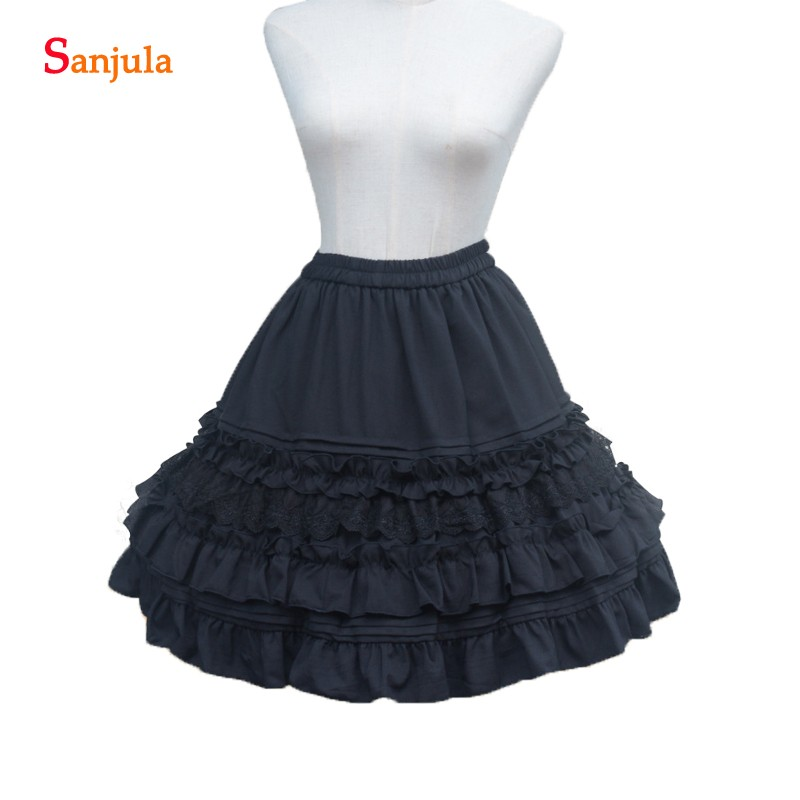 Vintage Lolita Underskirts for Costume Midi Skirts With Ruffles A line High Waist Women Petticoats For