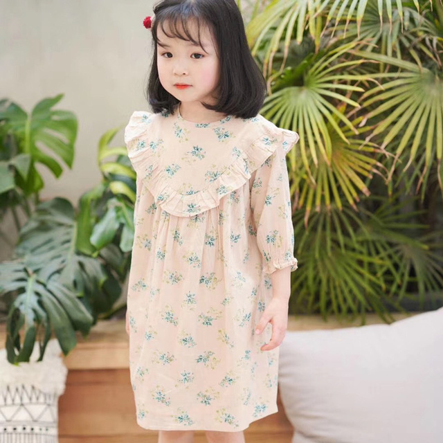 7d5566b2cba97 US $23.99 |2019 NEW Flower Pattern Printed Baby Girls Beige Dress Blue  Floral Print Party Boutique Summer Dress for Girls Clothes Petticoat-in  Dresses ...