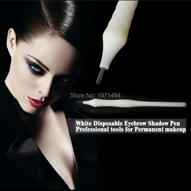 Design 50pcs Permanent Makeup Tattoo Disposable Microblading Shading Pen With Round Liner 21 Pin Shading Needles Free
