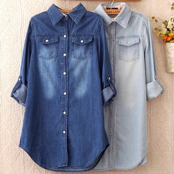 Summer Female Denim Long Shirts Feminina Women Casual Cotton Jean Blouse S Tops Turn -Down Pockets Light Blue