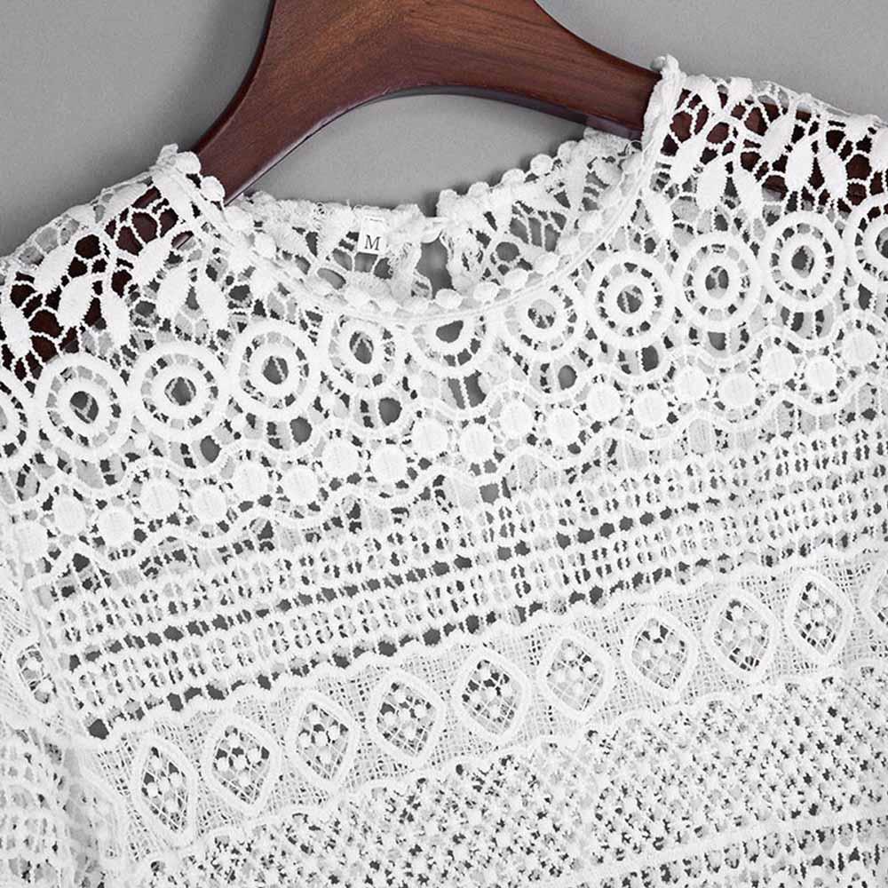 VESTLINDA Sexy Lace Hollow Out Blouse Shirt Women Blusas Feminina 2017 O Neck Lantern Sleeve Blusa Ladies Elegant Lace Blouse 16