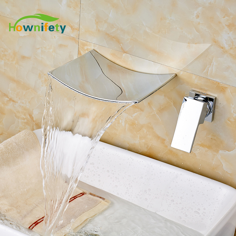 Wholesale and Retail Chrome Polished Bathroom Sink Faucet Single Handle Mixer Tap Wall Mounted ceramic single handle bathroom vanity sink mixer tap chrome finished