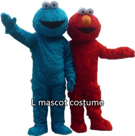 New elmo 마스코트 의상 긴 모피 참깨 거리의 마스코트 의상 블루 쿠키 괴물 만화 마스코트 성인 사이즈 무료 배송