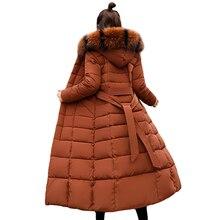 Fashion Winter Jacket Women Big Fur Belt Hooded Thick Down Parkas X Long Female Jacket Coat Slim Warm Winter Outwear