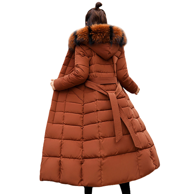 Fashion Winter Jacket Women Big Fur Belt Hooded Thick Down   Parkas   X-Long Female Jacket Coat Slim Warm Winter Outwear 2018 New