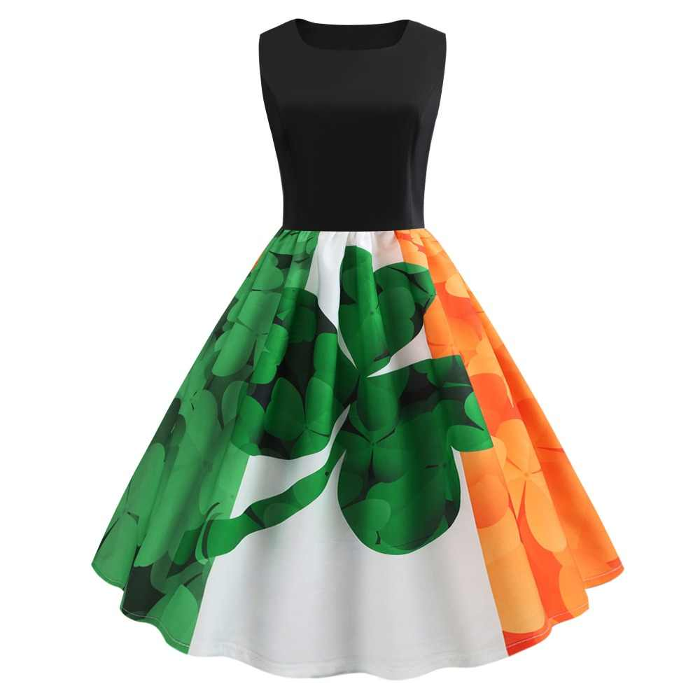 512844aa6 Detail Feedback Questions about Women 2019 Saint Patrick Parades Irish St. Patrick's  Day Dress Sunday 1950s Vintage Retro Orange Green Shamrock Clover Dress ...