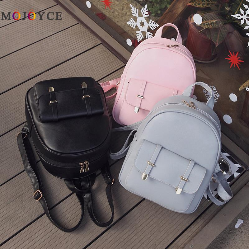 3pcs/set Pu Leather Women Backpack Girls Solid Shoulder Mini Backpack Lady Composite Bag Mochila Feminina #5