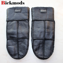 Leather gloves men's mittens sheepskin wool fur plus fertili