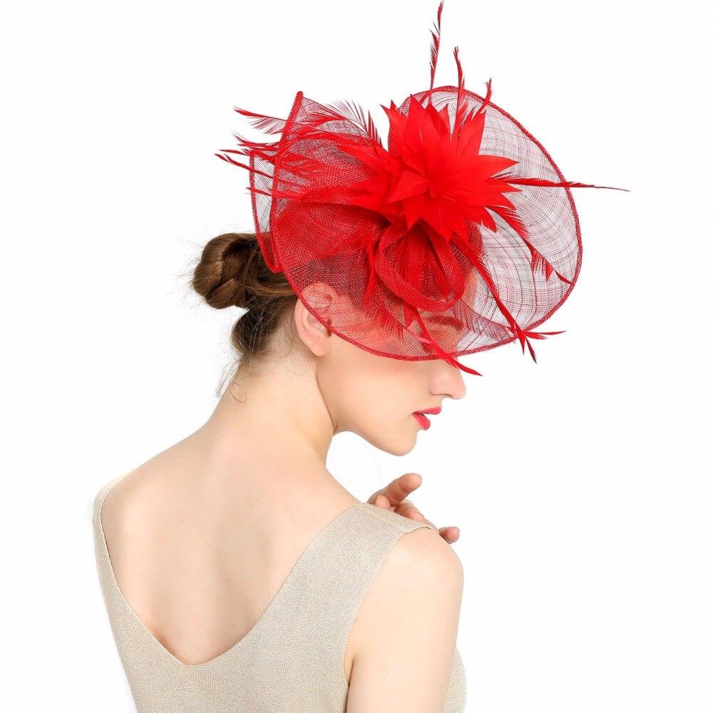 Новый 2016 Перо Свадебная шляпка очаровательная девушка Sinamay fascinators Дизайн со специальными Форма мода головной убор