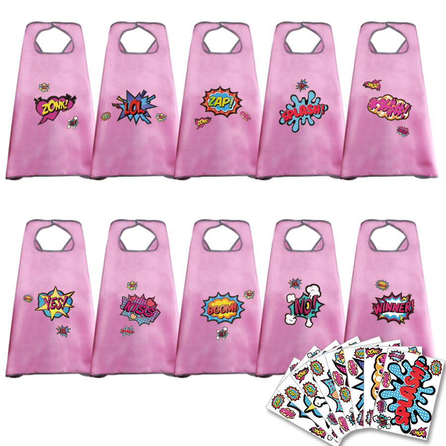 10 PCs SPECIAL 70*70 cm Plain Pink Capes And Stickers Child Disguise Girls Fancy Dress Costumes For Kids Parties Play Toy