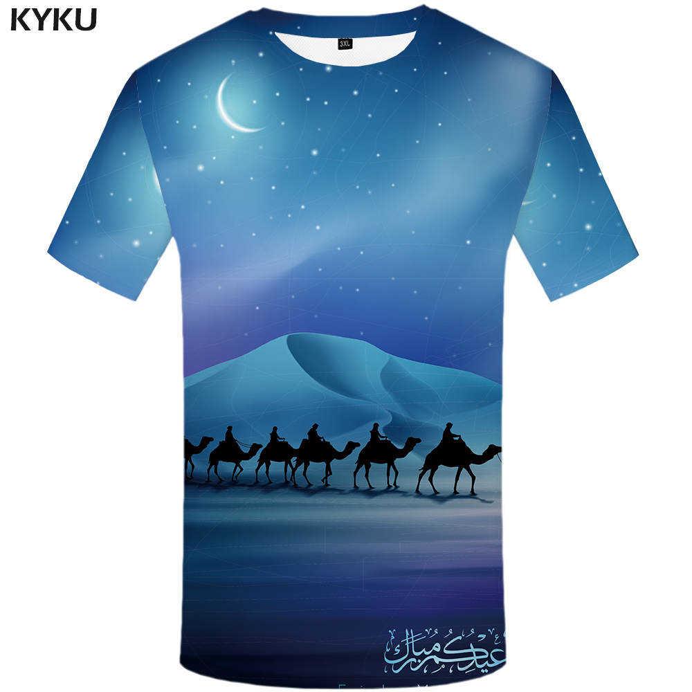 KYKU верблюд футболка уличная Desert футболка Moon рубашка арабских Костюмы 3d  футболка Для мужчин забавная футболка 5fb9558eebc65