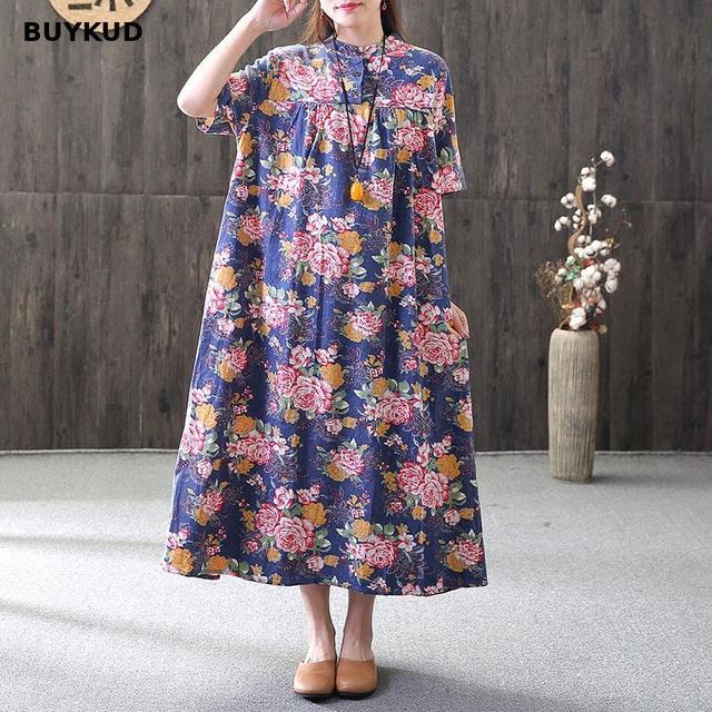 370586306b3 BUYKUD Retro Big Flower Print Linen Casual Summer Floral Short Sleeve  Ultra-loose Female Dress