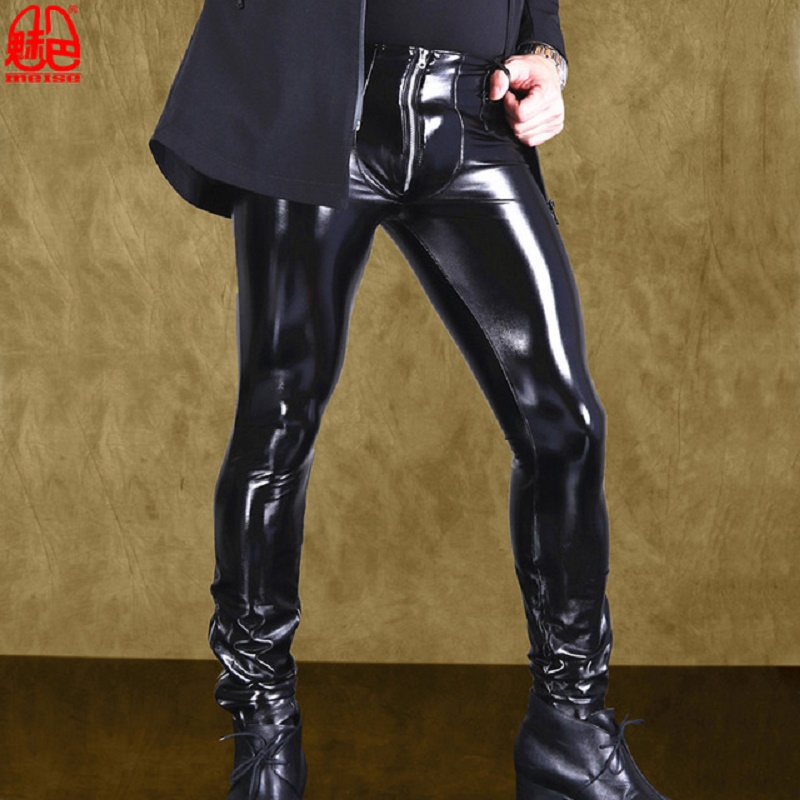 Men's Punk Style Stage Performance Faux Leather Leggings Cool Bright Latex Ammonia Stretch Tight Pencil Pants Motorcycle Pants