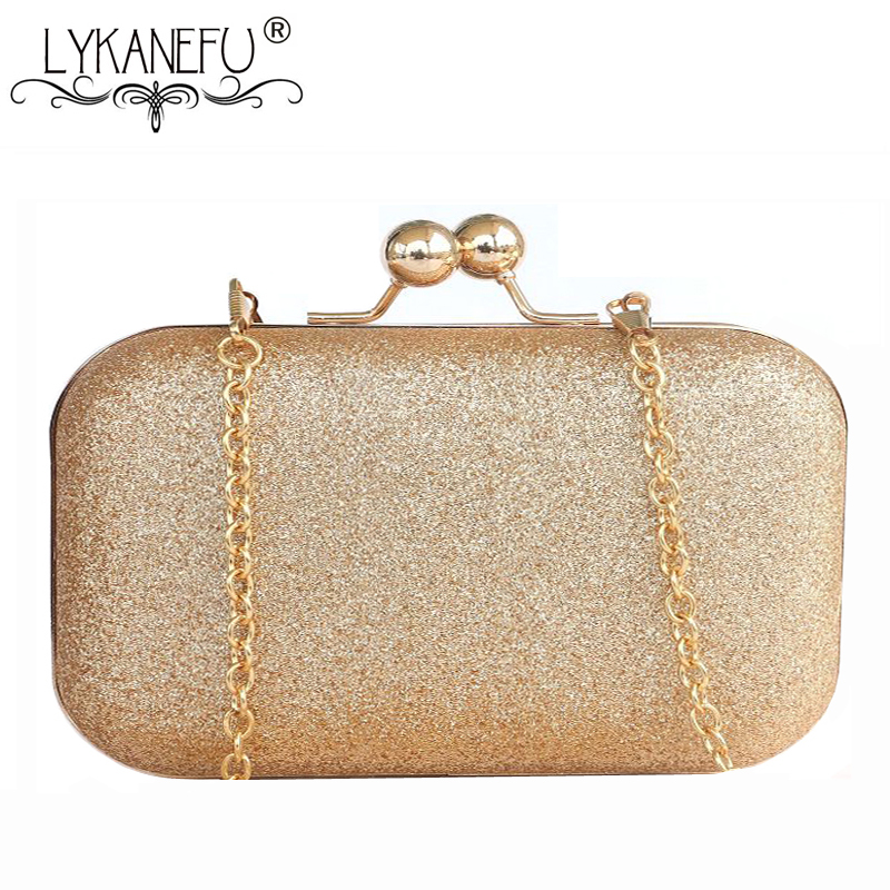 LYKANEFU Box Evening Bag for Phone Clutch Purse Glitter Women Bag Day Clutches Ladies Party Hand Bag With Chain Shoulder Bags box clutch purse