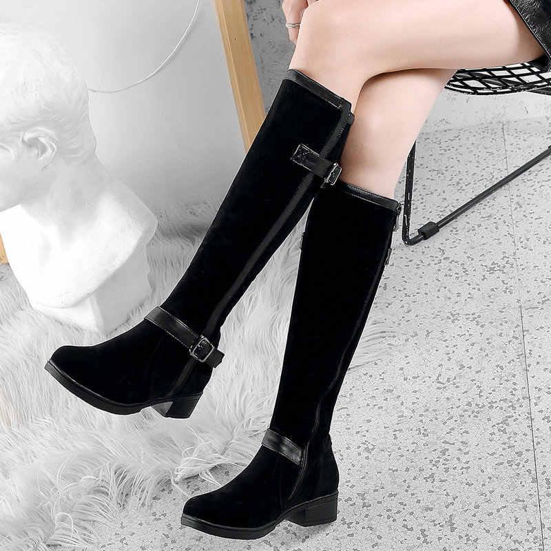 Siyah Kahverengi Kış Diz Yüksek Çizmeler Kadın Konfor Kalın Topuk binici çizmeleri Fermuar Casual Retro Uzun Çizmeler 2019 Ayakkabı Büyük boyutu