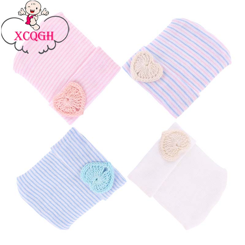 XCQGH Baby Girl Boy Hat Cotton Heart Striped Elastic Beanie Hat Four Seasons Newborn Infant Toddler Kids Caps Cloth Accessories