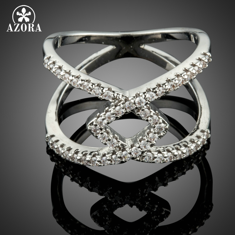 AZORA Silver Color V Letter Intersect Rings for Women Luxury Cubic Zirconia Micro Pave Setting Wedding Engagement Ring TR0209