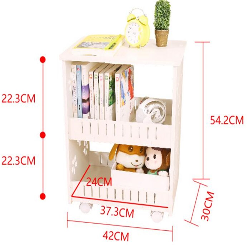 Multipurpose Bookshelf Double-Layer Bookcase Storage Rack Bedside Table Sofa Side Table Living Room Storage Cabinet With Wheels gramercy шкаф aberdreen double bookshelf