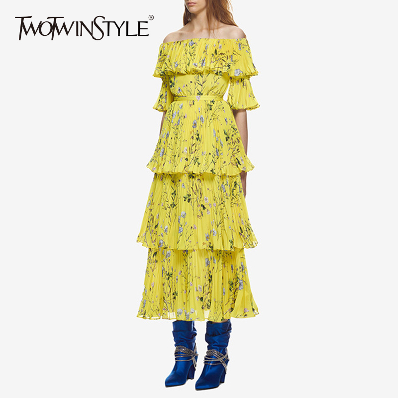 TWOTWINSTYLE Off Shoulder Dress Women Print Ruffles Patchwork Tunic High Waist Ruched Long Beach Dresses 2019