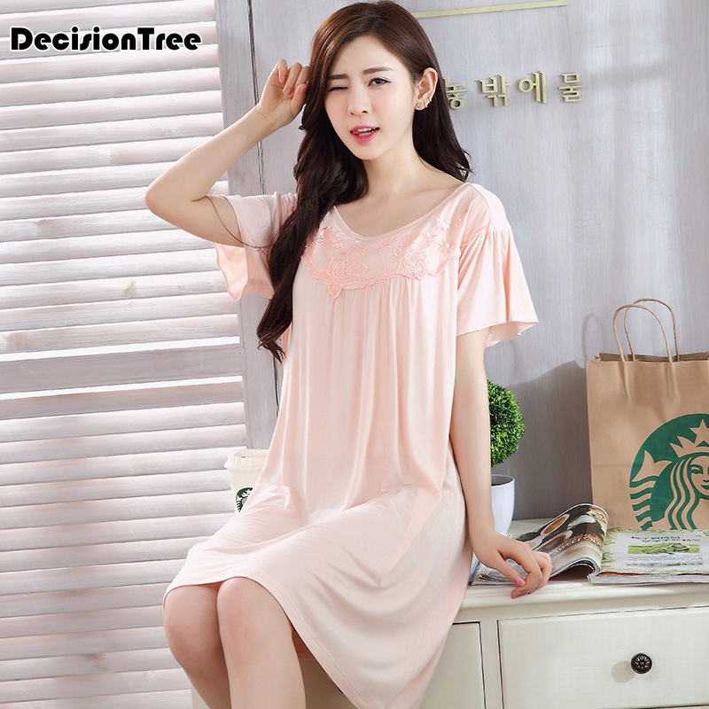 2019 new sexy lady solid   sleepshirt     nightgown   sexy lace sleepwear set v neck female embroidery lingerie dress