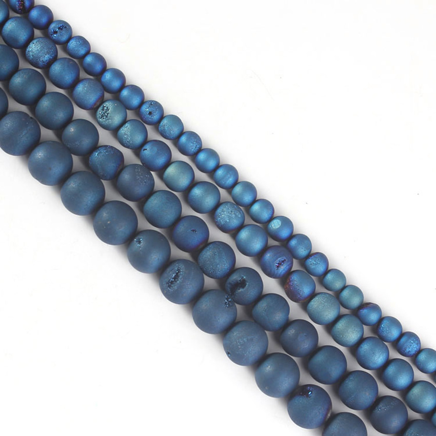 xinshangmie Metallic Coated Druzy Blue Agates Natural Stone Beads Jewelry Making Charms Spacer Beads DIY Bracelet Wholesale