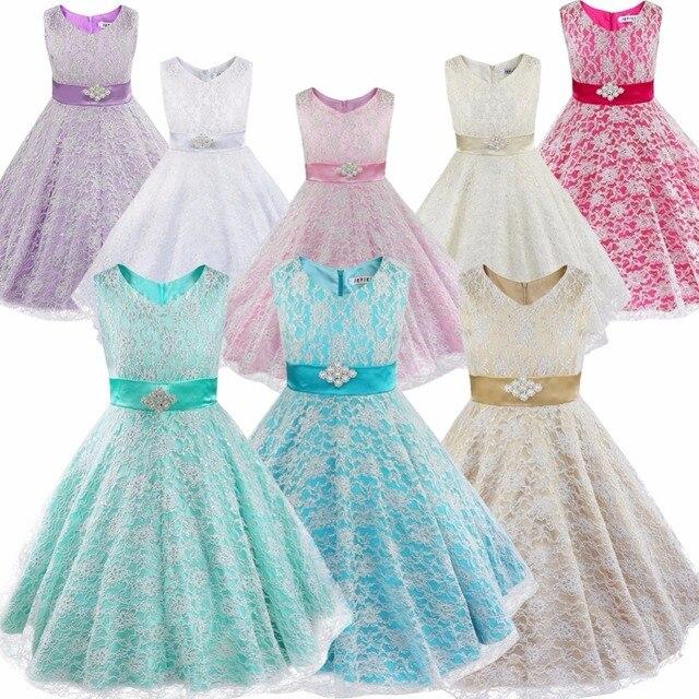 IEFiEL Детское цветочное кружевное платье со стразами для девочек свадебное платье с цветочным узором для девочек официальное праздничное бальное платье для выпускного бала или спектакля от 4 до 16 лет