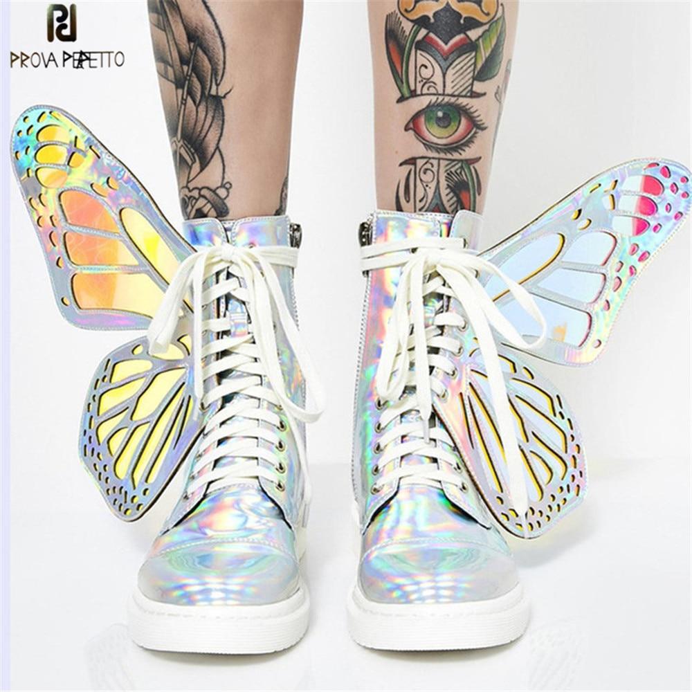 Prova Perfetto 2019 Asas de Borboleta Mulheres Lace up Sneakers Plataforma Sapatas Das Senhoras Brilhante Partes Superiores Altas Botas de Borracha Plana Casuais Mujer